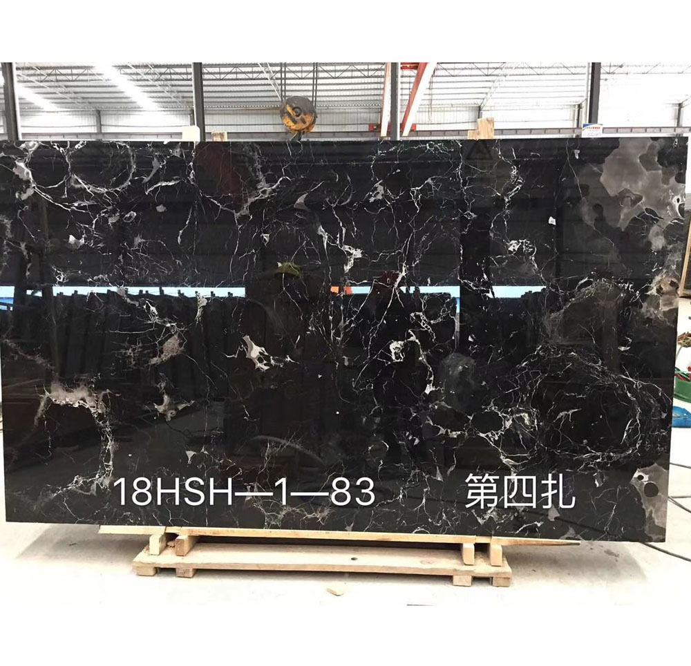 Absolute Black Rose with White Flower Veins Marble Slabs