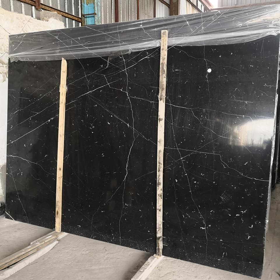 Affordable Chinese Polished Black Marquina Marble Slab