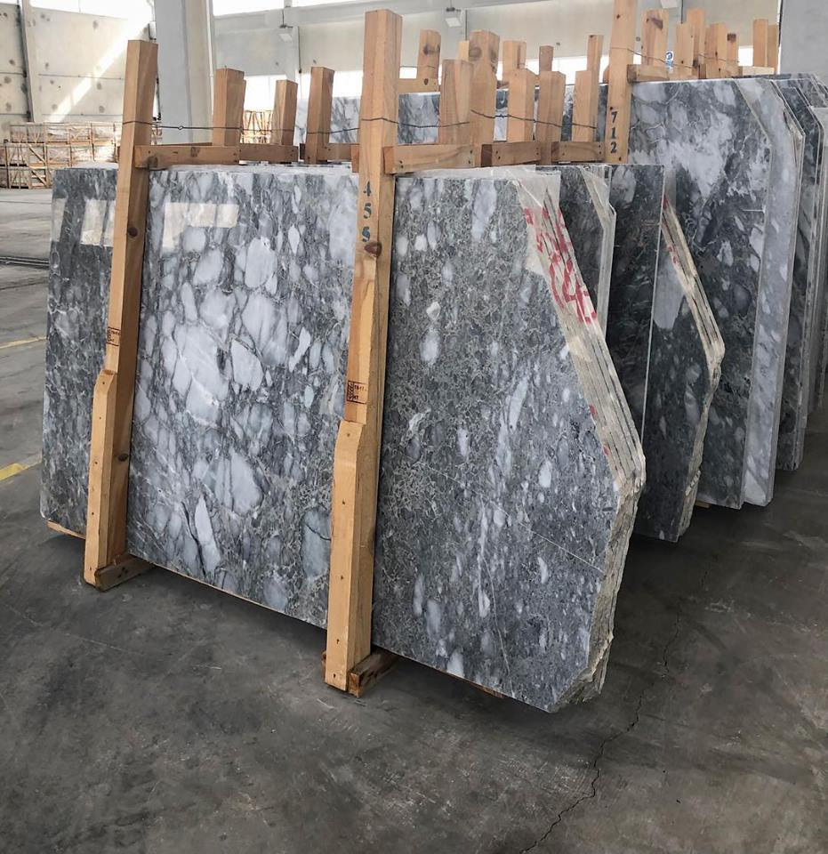 Afyon Silver Slab Grey Marble Slabs with High Quality