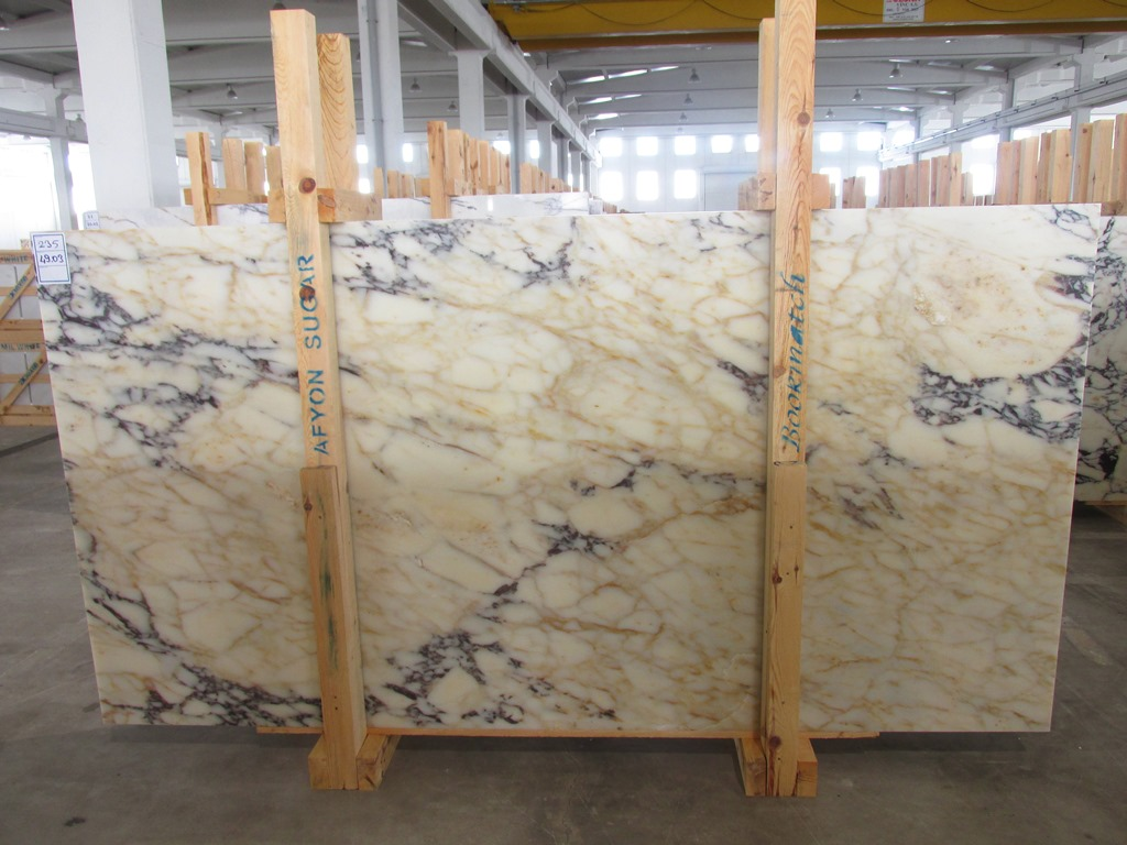 Afyon Sugar White Marble Slabs Polished Turkey Marble Slabs with Top Quality