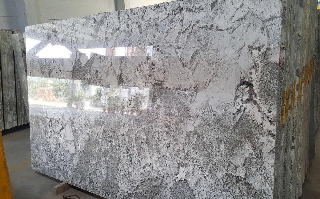 Alpine White Polished White Granite Slabs