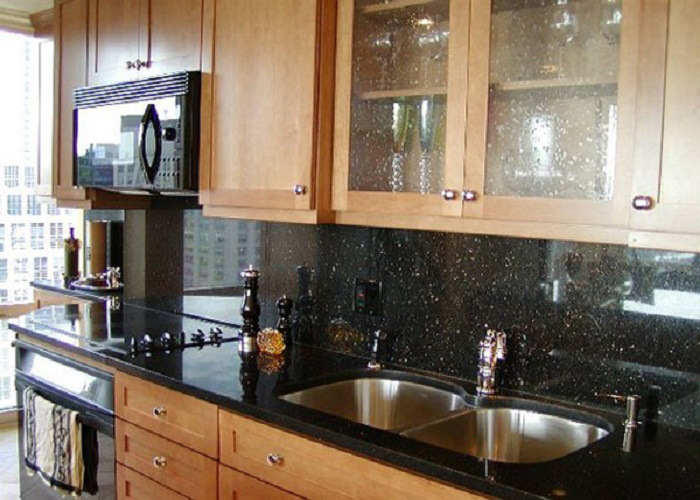 Ametista Star Golden Black Galaxy Polished Indian Black Granite Kitchen Tops
