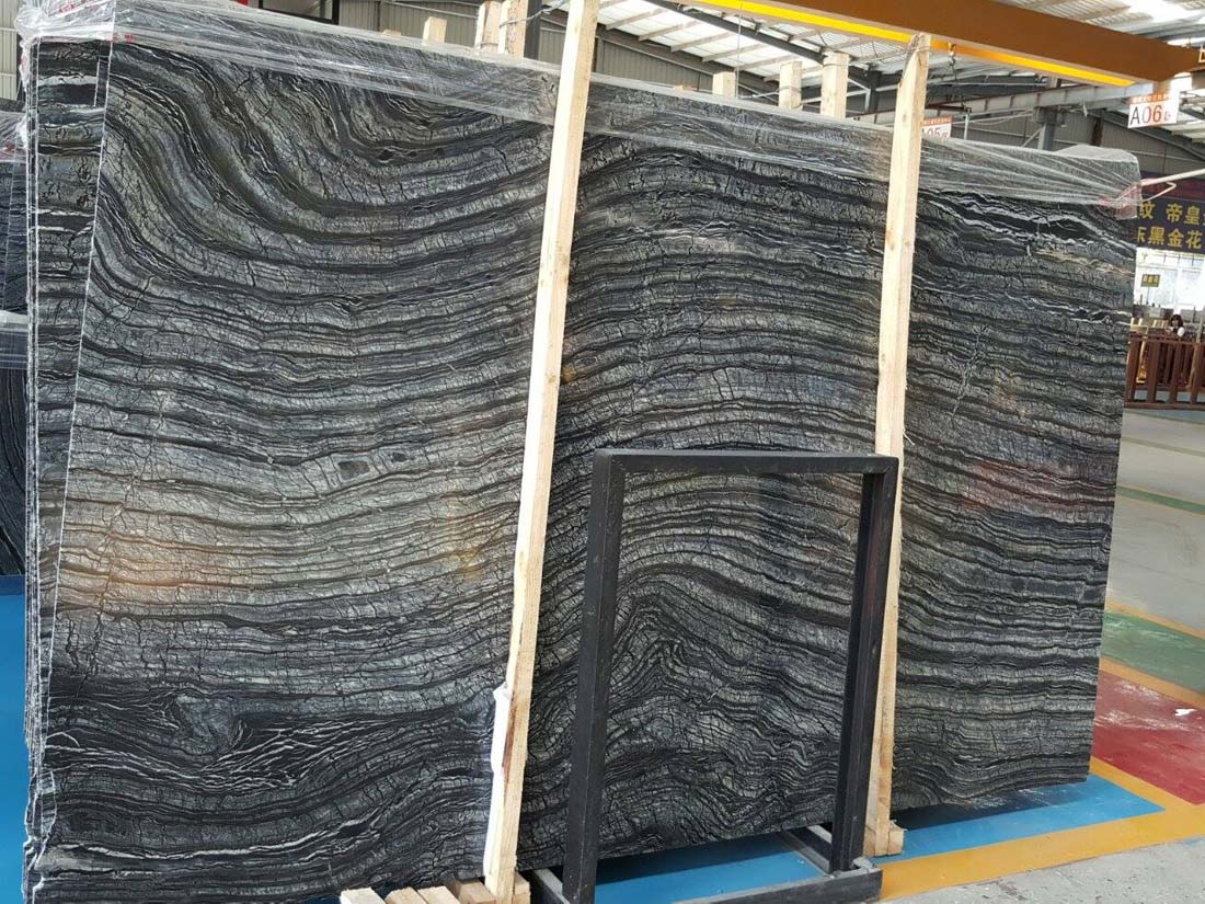 Ancient Wooden Marble Polished Black Marble Slabs