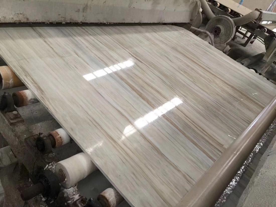 Asia Wood White Marble Slabs