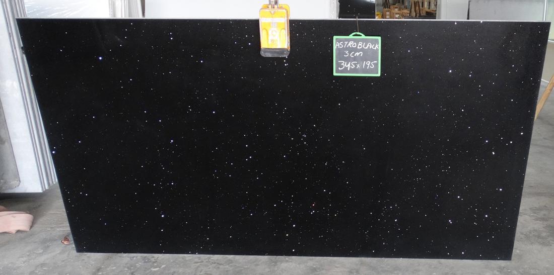 Astro Black Quartz Slabs from India