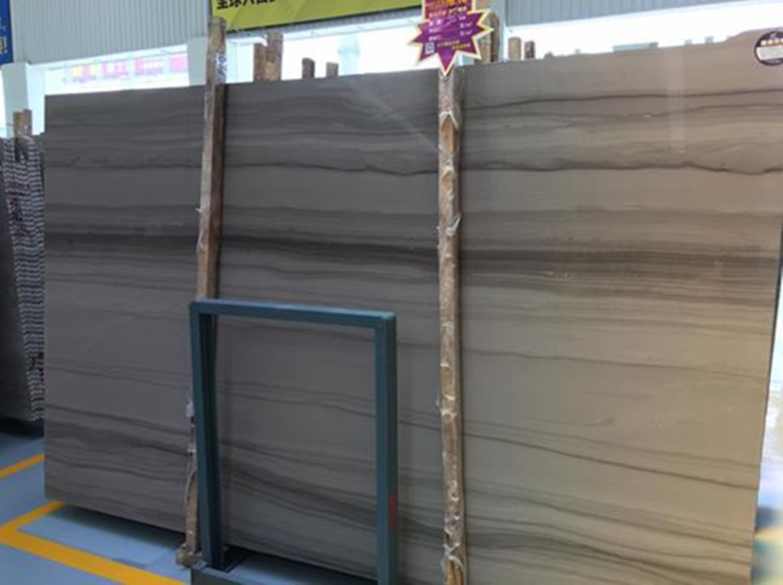 Athens Wood Grain Slab Polished Grey Marble Stone Slabs