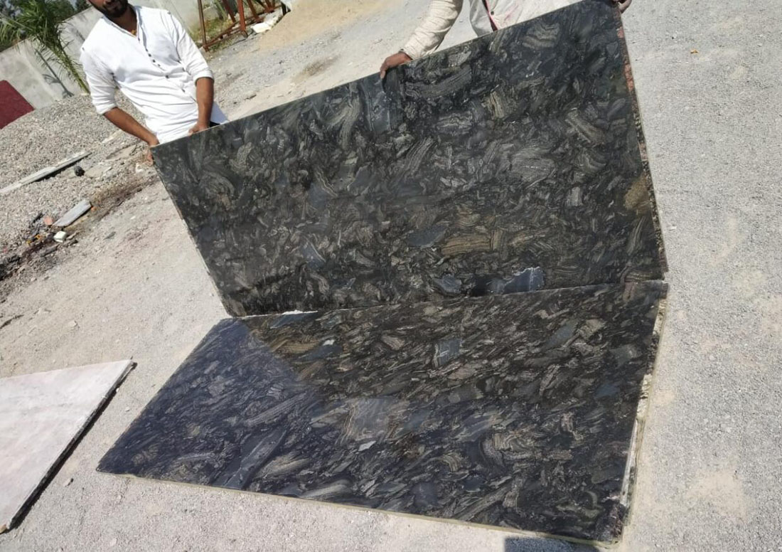 Azul Black Granite Slabs Polished Granite Slabs from India