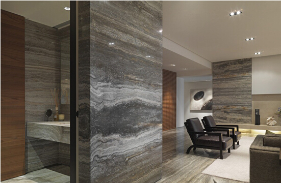 Baffle Grey Wooden Silver Grey Travertine Wall Decoration Tiles