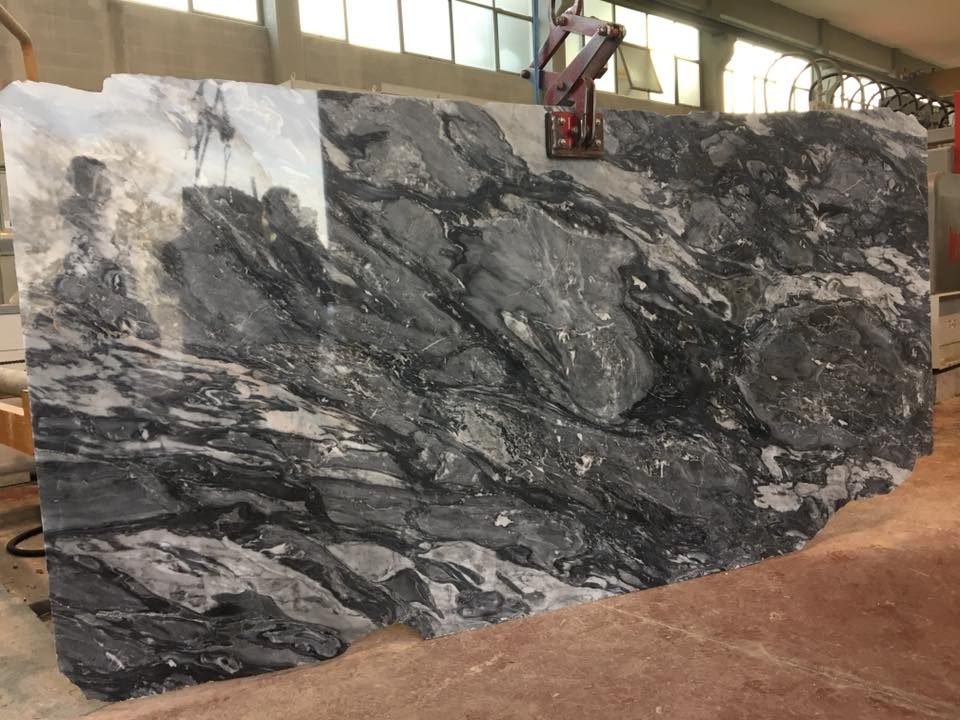 Bardiglio Nuvolato Polished Black Marble Slabs