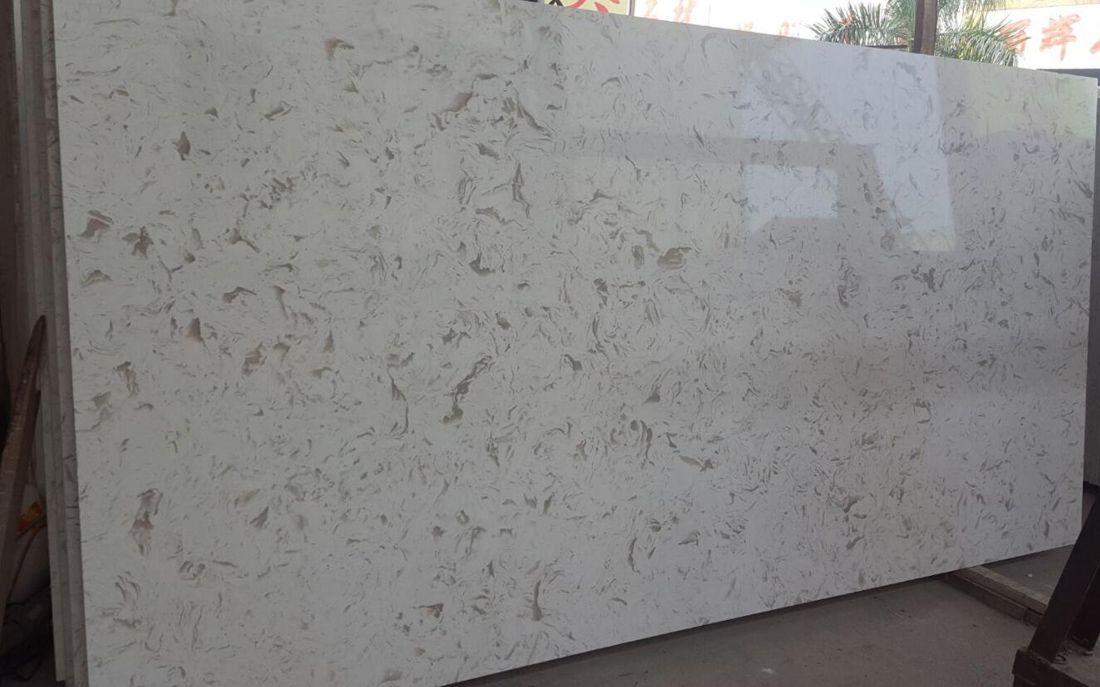 Beige Quartz Slabs Polished Artificial Stone Slabs