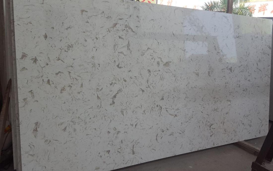 Beige Quartz Slabs Polished Artificial Stone Slabs