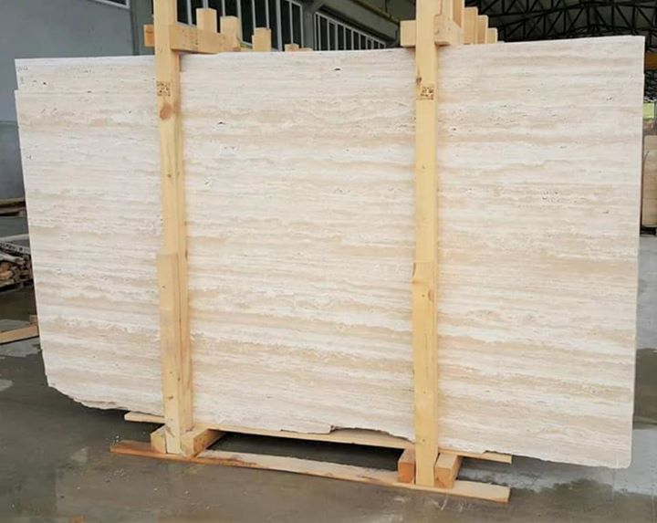 Beige Travertine Polished Slabs from Turkey