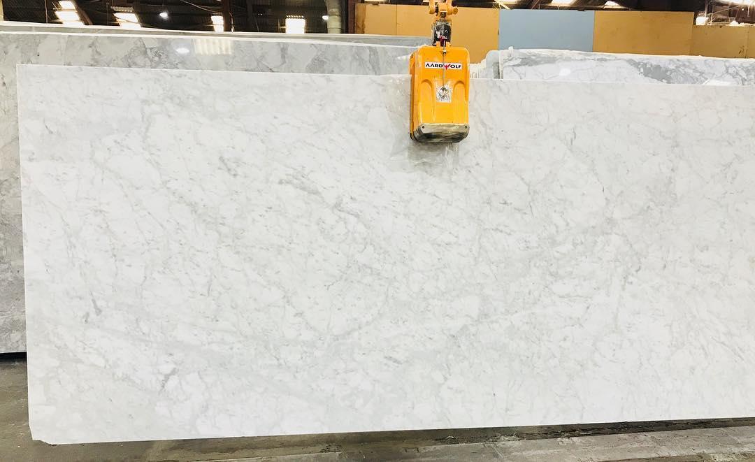 Bianco Carrara 30mm Honed & Leather White Marble Slabs