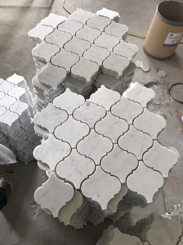 Bianco Carrara White Arabesque Lantern Marble Mosaic Tiles