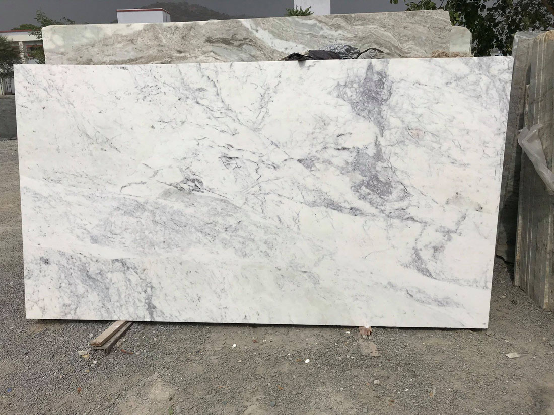 Bizzaro Purple Marble White Polished Marble Slabs