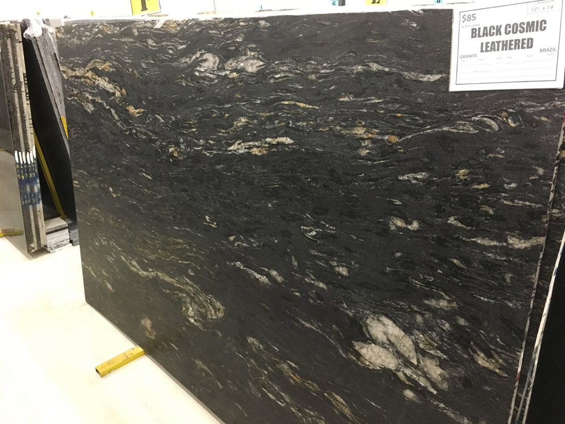 Black Cosmic Leathered Granite Slabs