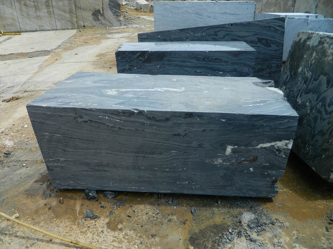 Black Fantasy Marble Natural Stone Blocks