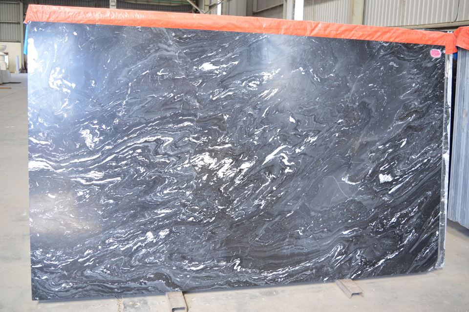 Black Fantasy Marble Slabs Polished Black Slabs from India