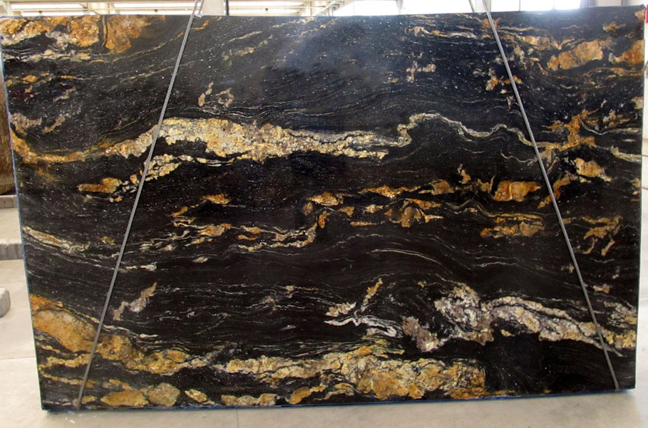 Black Fusion Granite Slabs Polished Black Granite Slabs