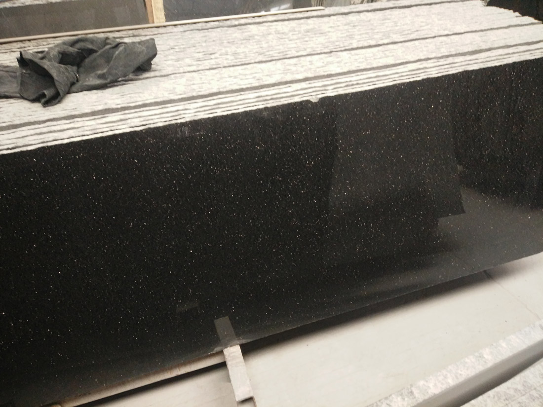Black Galaxy Big Dot Granite Countertops Polished