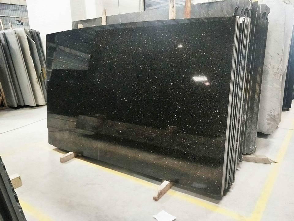Black Galaxy Granite Indian Polished Black Granite Slabs