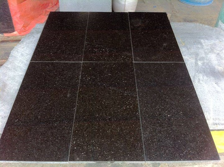 Black Galaxy Polished Granite Tiles Flooring Granite Tiles