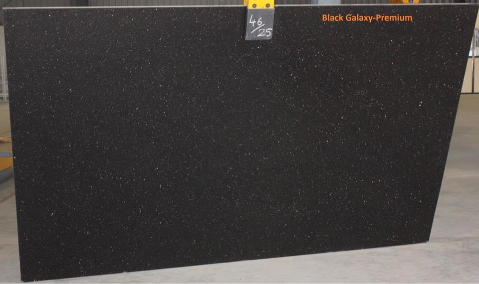 Black Galaxy Slabs Black Polished Indian Granite Slabs