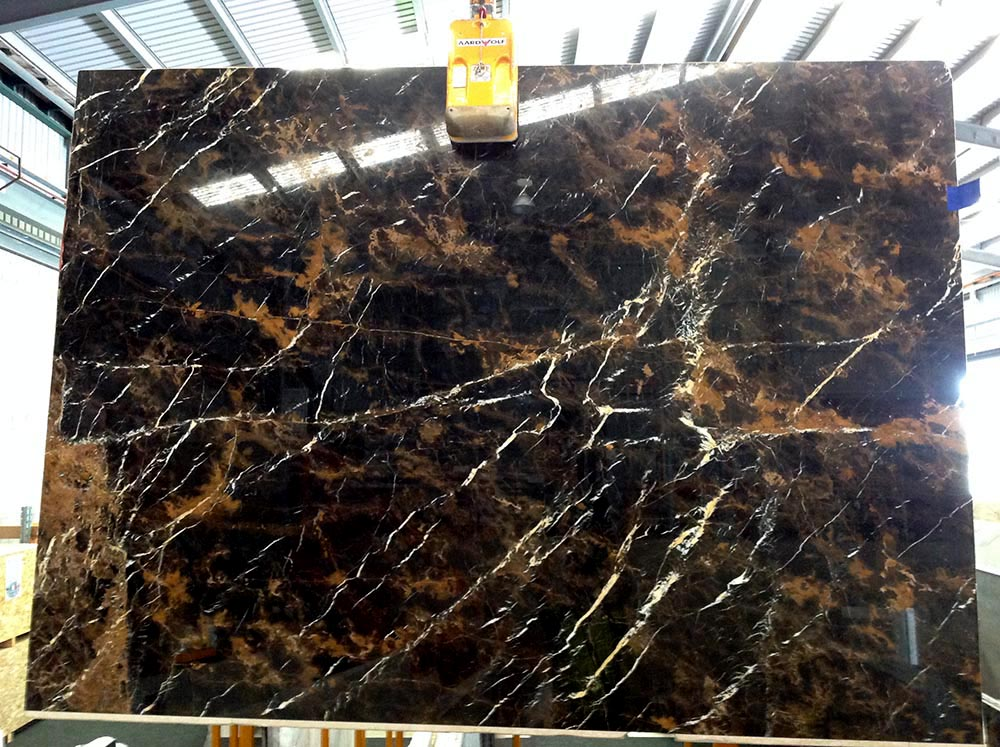 Black Gold Slab Polished Black Marble Stone Slabs with Top Quality