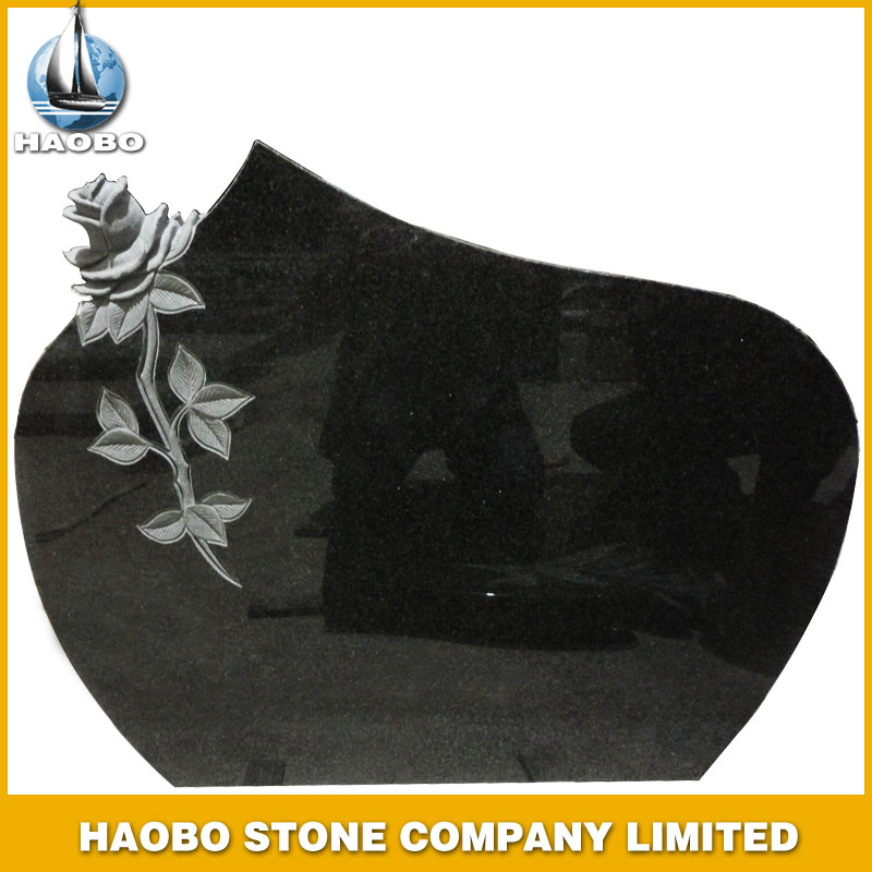 Black Granite Headstone with Flower Carving