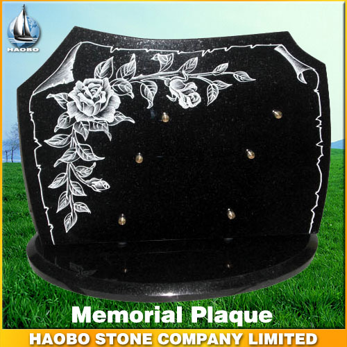 Black Granite Memorial Plaque with Flower Carvings