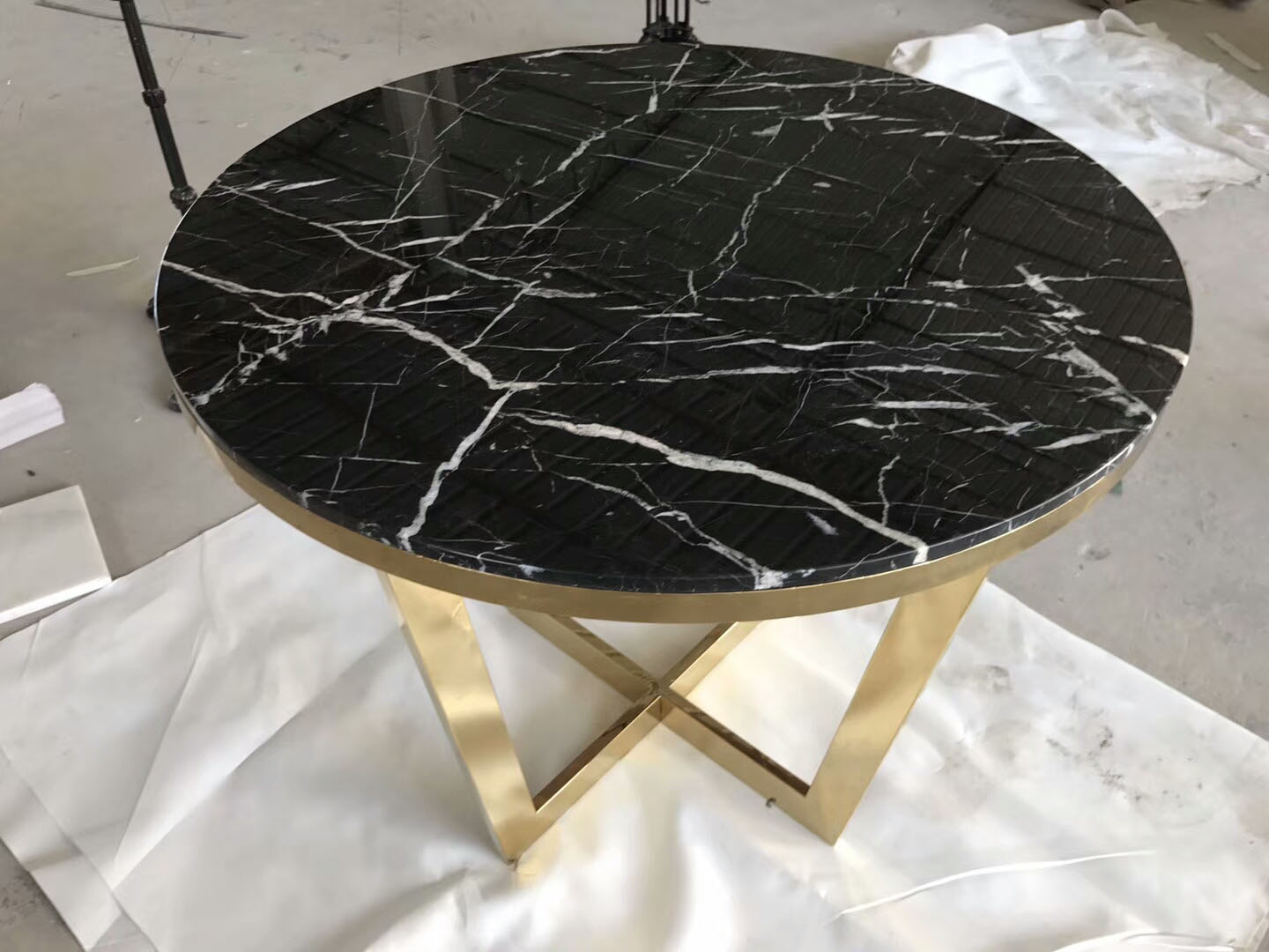 China Nero Marquina Marble,Black Marble Round Table Countertop