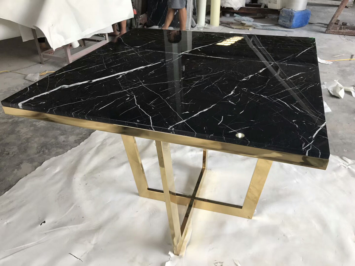 China Nero Marquina Marble, Black Marble Square Table Top