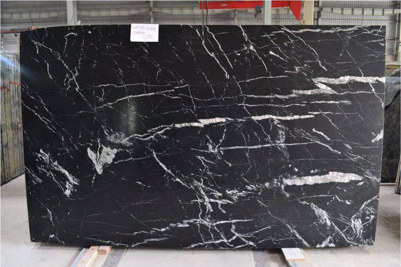 Black Marine Marble Slabs from India