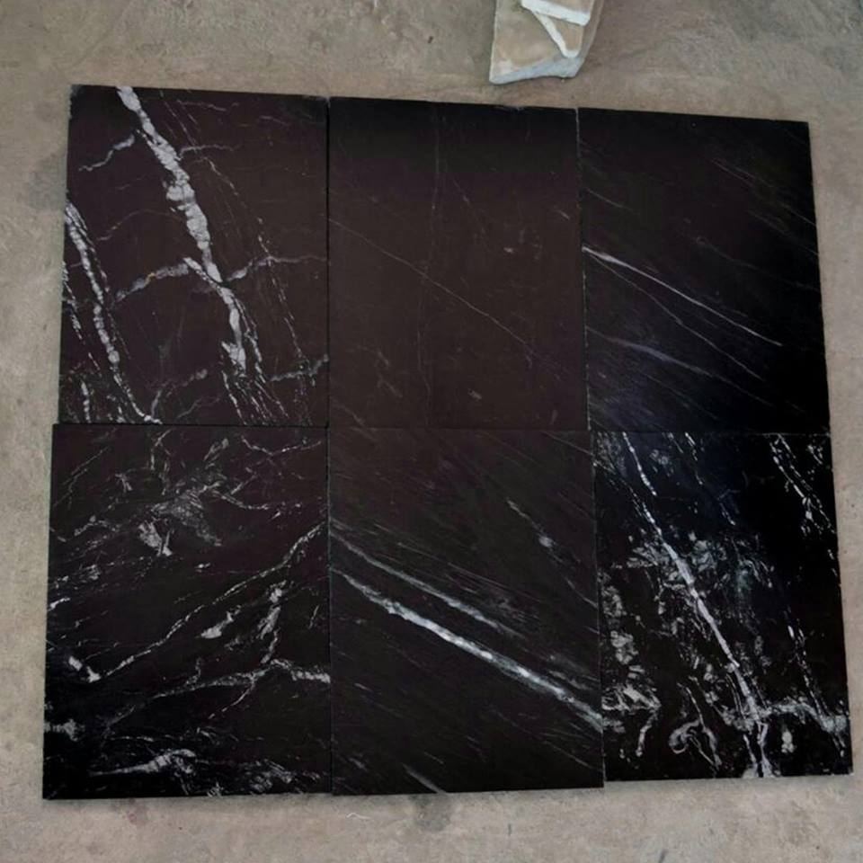 Black Marine Marble Tiles Polished Marble Flooring Tiles