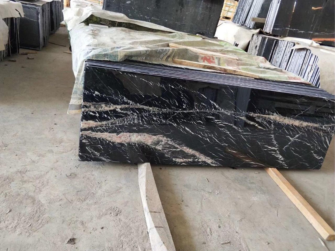 Black Marquina Marble Countertop for Kitchen and Bathroom