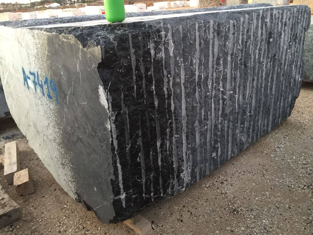 Black Marquina Marble Stone Blocks from Spain