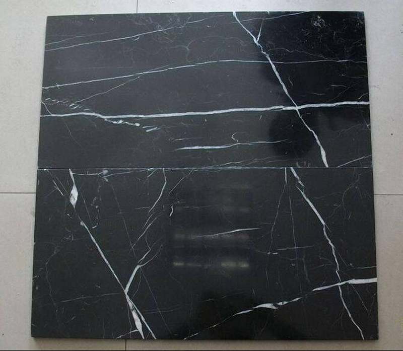 Black Marqunia Marble Polished Tiles