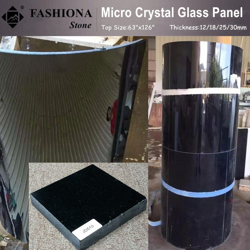 Black Micro Crystal Glass Stone Column