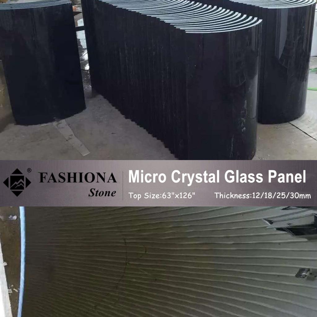 Black Polished Micro Crystal Glass Stone Columns