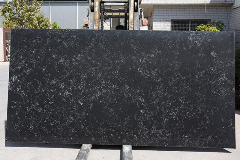 Black Quartz Slab with White Vein