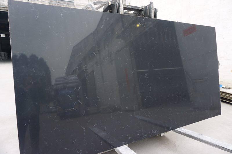 Black Quartz Slabs Black Artificial Stone Slabs
