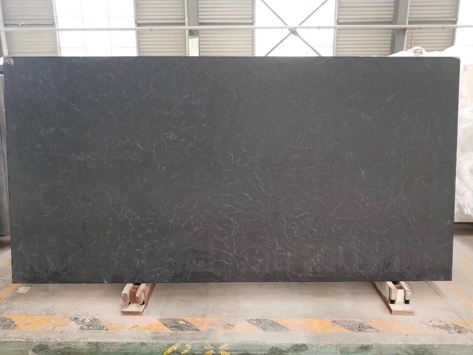 Black Quartz Slabs with Veins