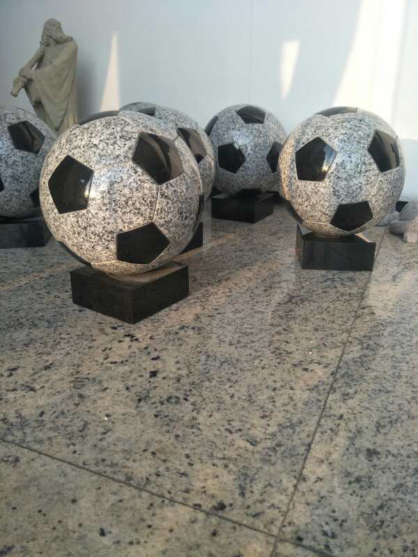 Black White Round Stone Ball Customized Granite Football Vase Carving