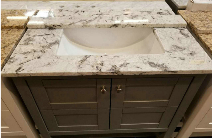Blue Ice Blue Persa White Granite Bathroom Vanity Tops with Cabinet