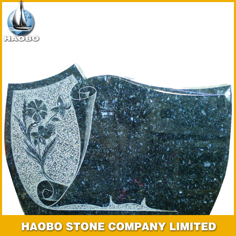 Blue Pearl Granite Headstone with Flower Carving