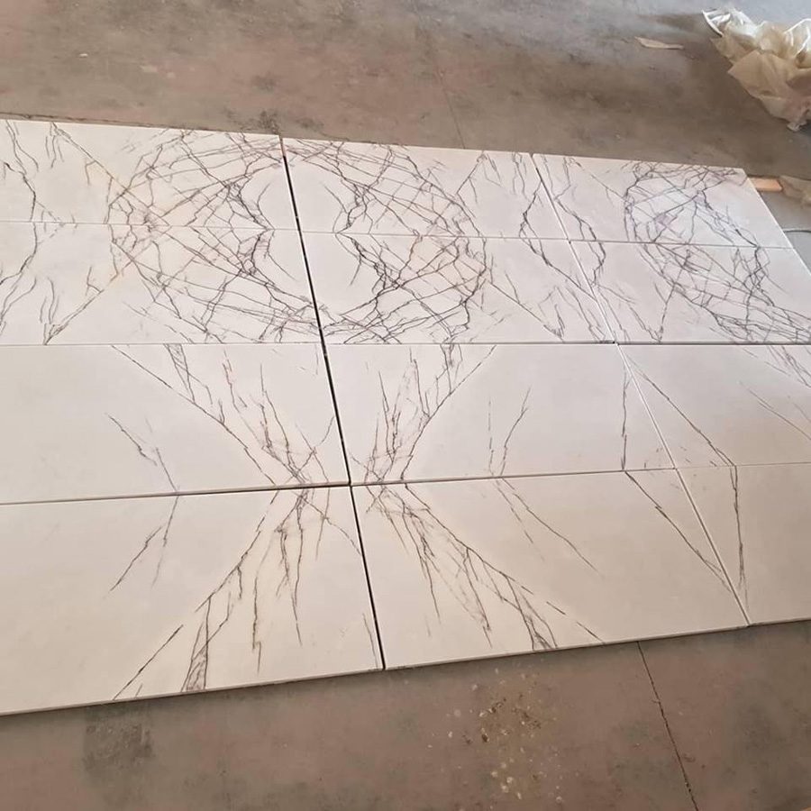 Bookmached Lilac White Marble Tiles