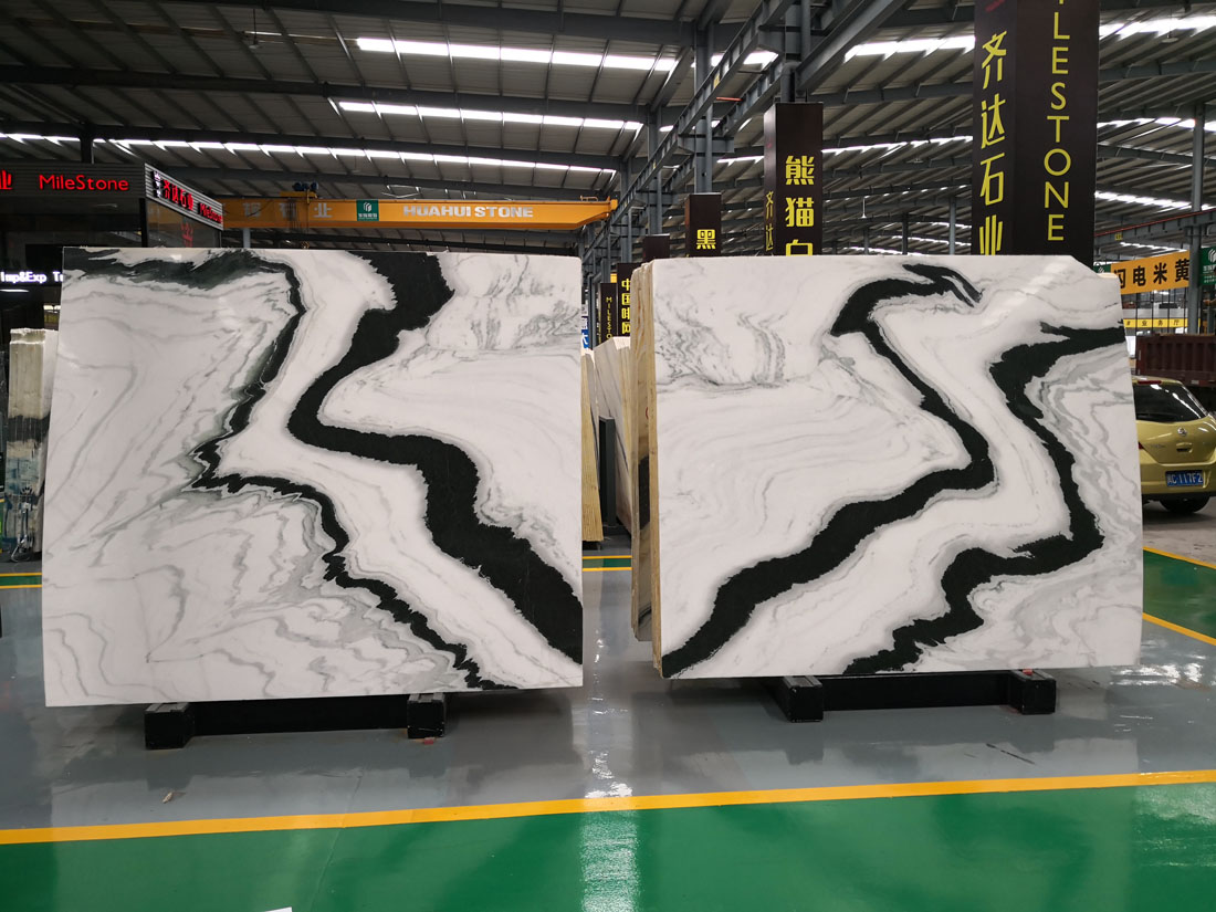 Bookmatch Panda White Marble Slabs