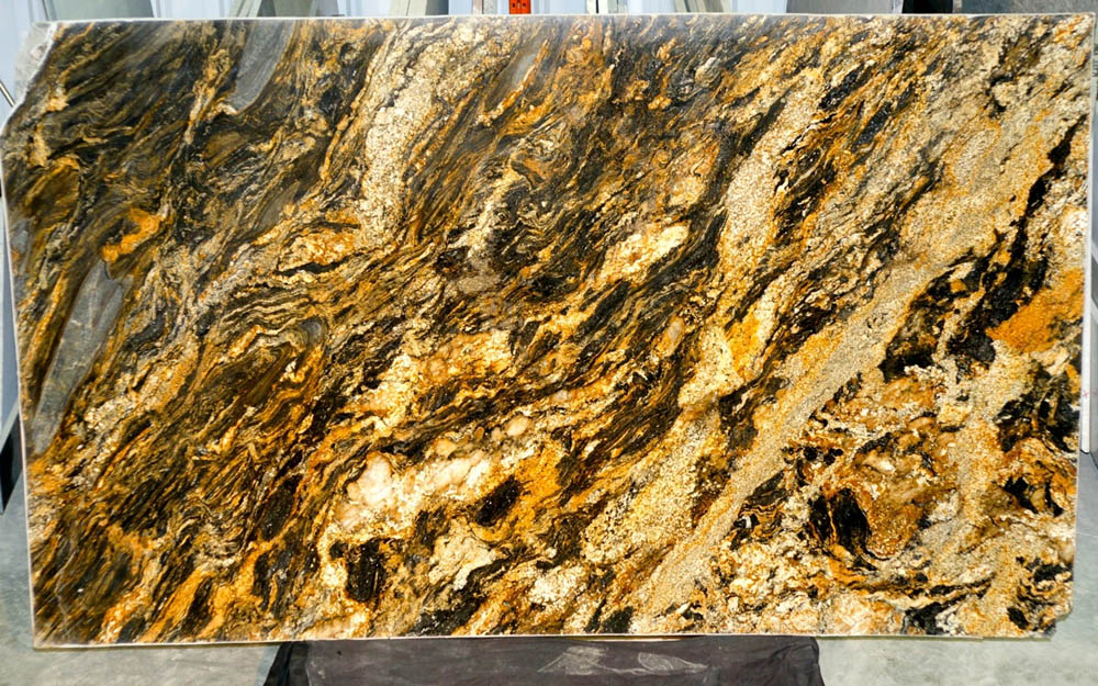 Brazil Comet Granite Slabs Polished Yellow Granite Stone Slabs
