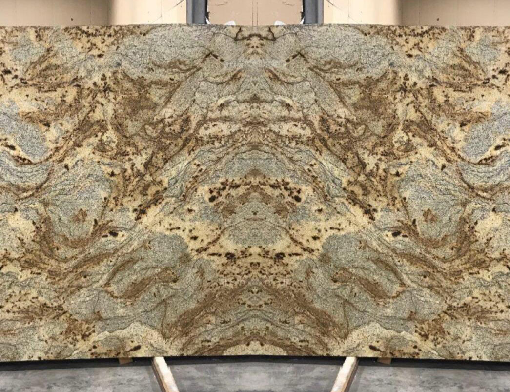 Brazil Jaguar Granite Slabs Polished Yellow Granite Stone Slabs