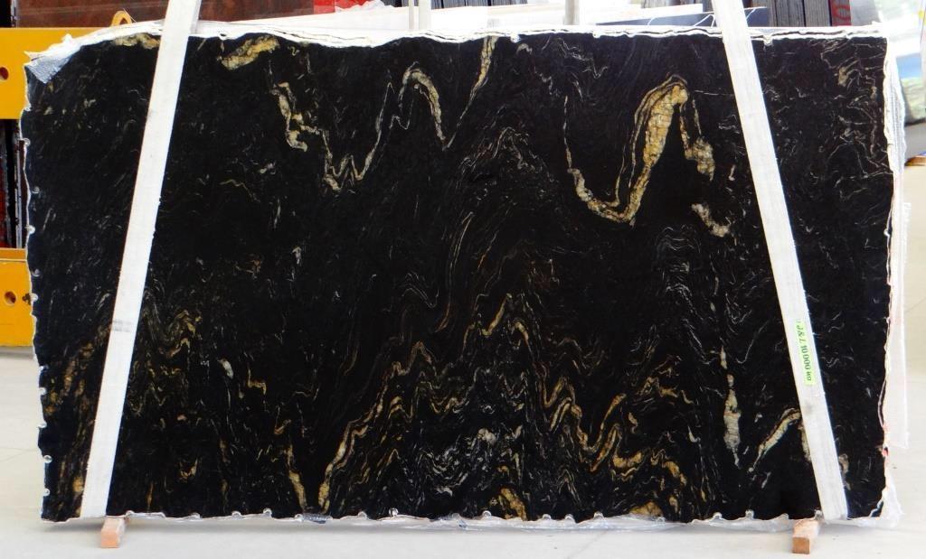 Brazil Titanium Black Granite Polished Slabs for Kitchen Countertops